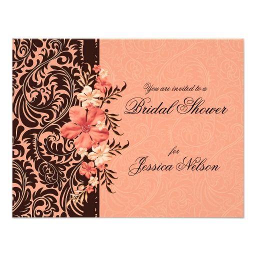Elegant Coral Floral Damask Bridal Invitation Custom Invite
