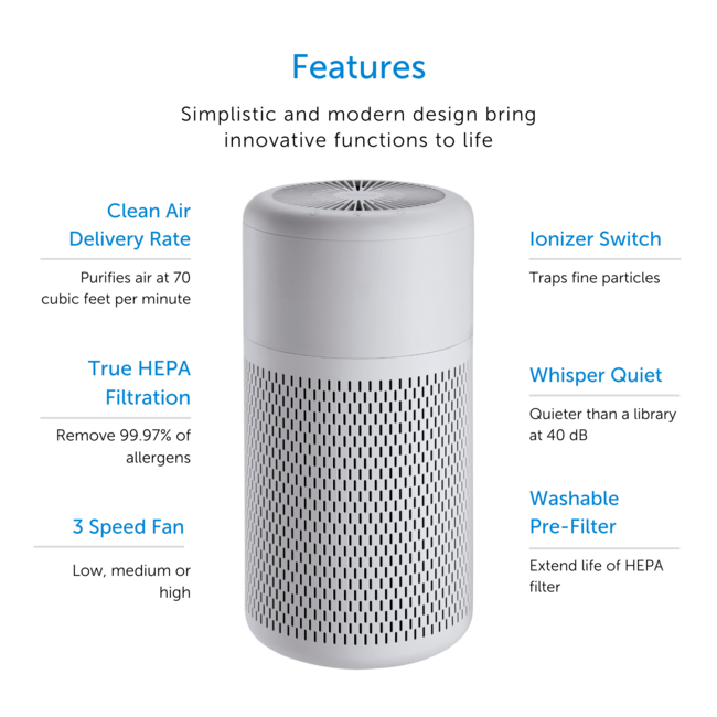 Air Purifier True HEPA With Ionizer And Washable Filter