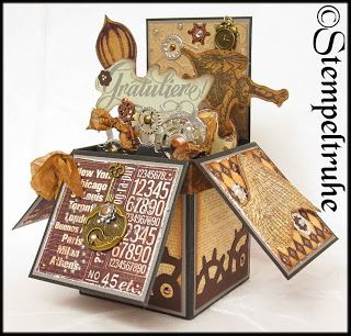 pop up card box steampunk card in a box pop up box card pinterest box karten und pop. Black Bedroom Furniture Sets. Home Design Ideas