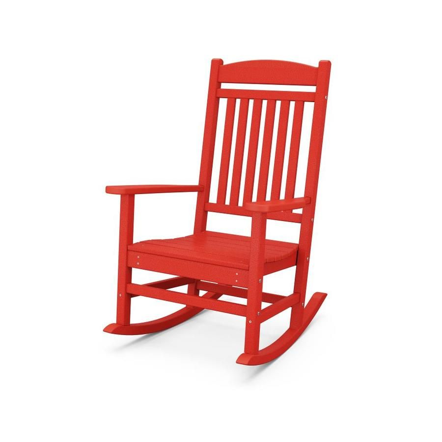 Trex Outdoor Furniture Seaport Sunset Red Plastic Frame Rocking Chair S With Slat Seat Seat Lowes Com Rocking Chair Plastic Rocking Chair Outdoor Rocking Chairs