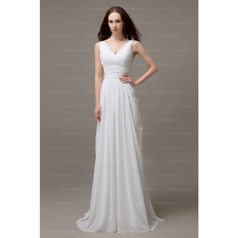 Simple And Long White Bridesmaid Dresses