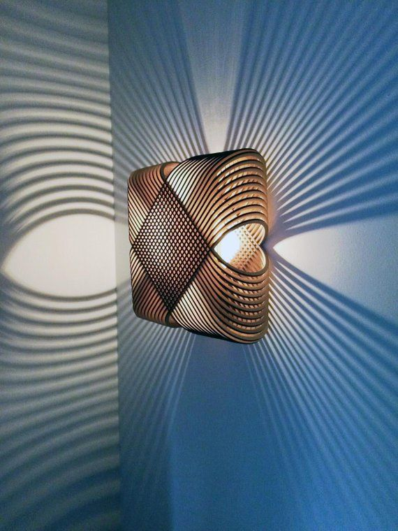 No.39 Ovals wall lamp wall light - lasercutted wood - minimal design Dutch design made in Holland