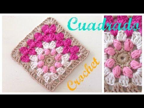 Cuadrados de la abuelita a crochet o ganchillo con flor en el centro ...