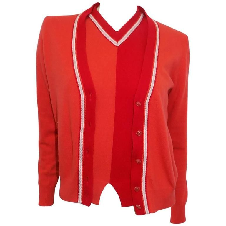Chanel cashmere red orange 3 piece cardigan sweater set | Chanel ...