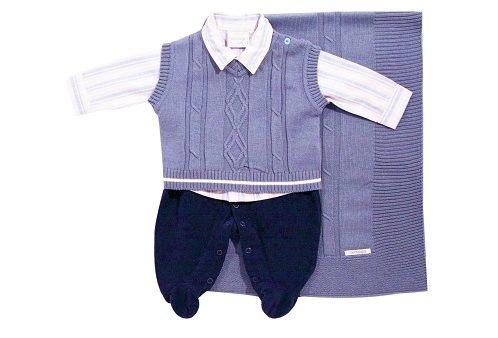 Noruega - Kit Saída Maternidade Camisa com Colete 3 Peças - Azul ... 411759fb456