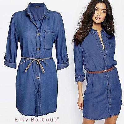 d866e1e8449 Femme femmes italien bustier denim robe chemise jean robes made in italy
