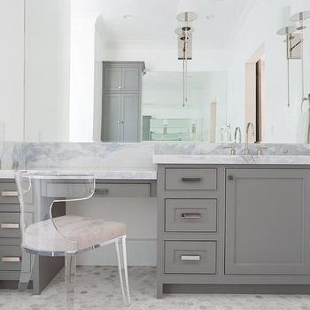 Gray Built In Make Up Vanity With Lucite Klismos Chair Bathrooms - 1920s bathroom vanity