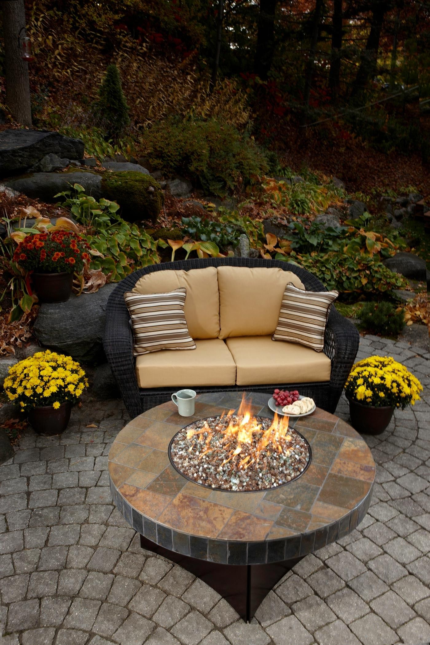 Oriflamme Fire Table Santa Fe Mosaic Stone Gas Fire Pit