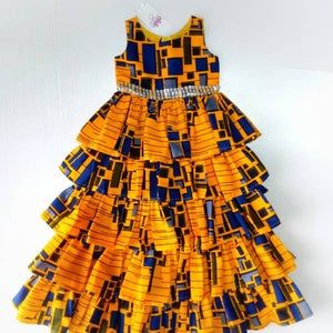 Ankara Girls Dress With Head Band, Kids African Cl
