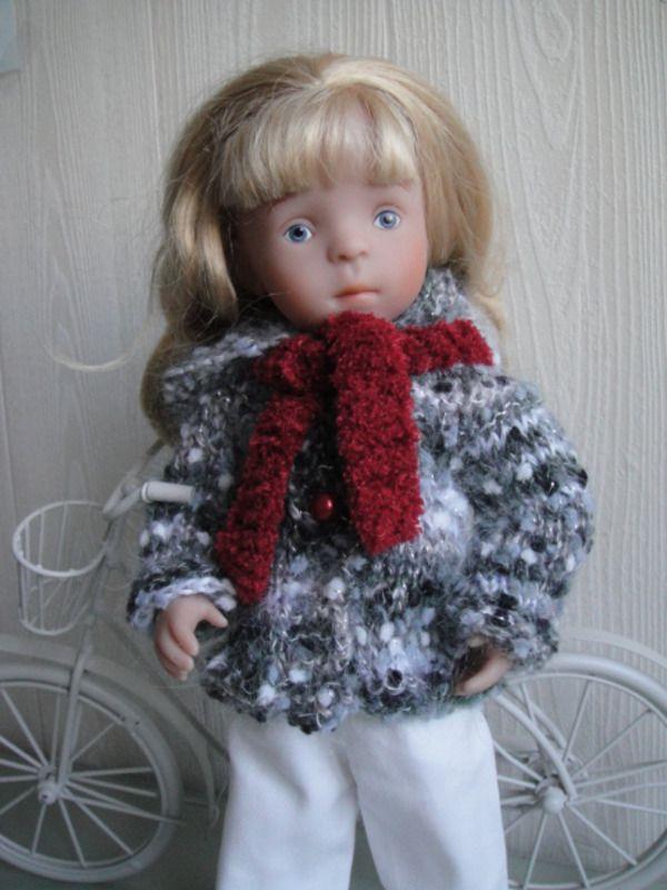 Veste à capuche + écharpe pour poupée Minouche - vêtements de poupées - Du fil et des poupées - Fait Maison