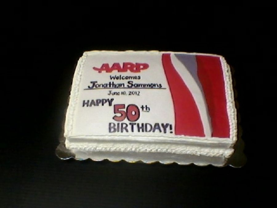 Aarp 50Th Birthday French vanilla WASC with buttercream fondant