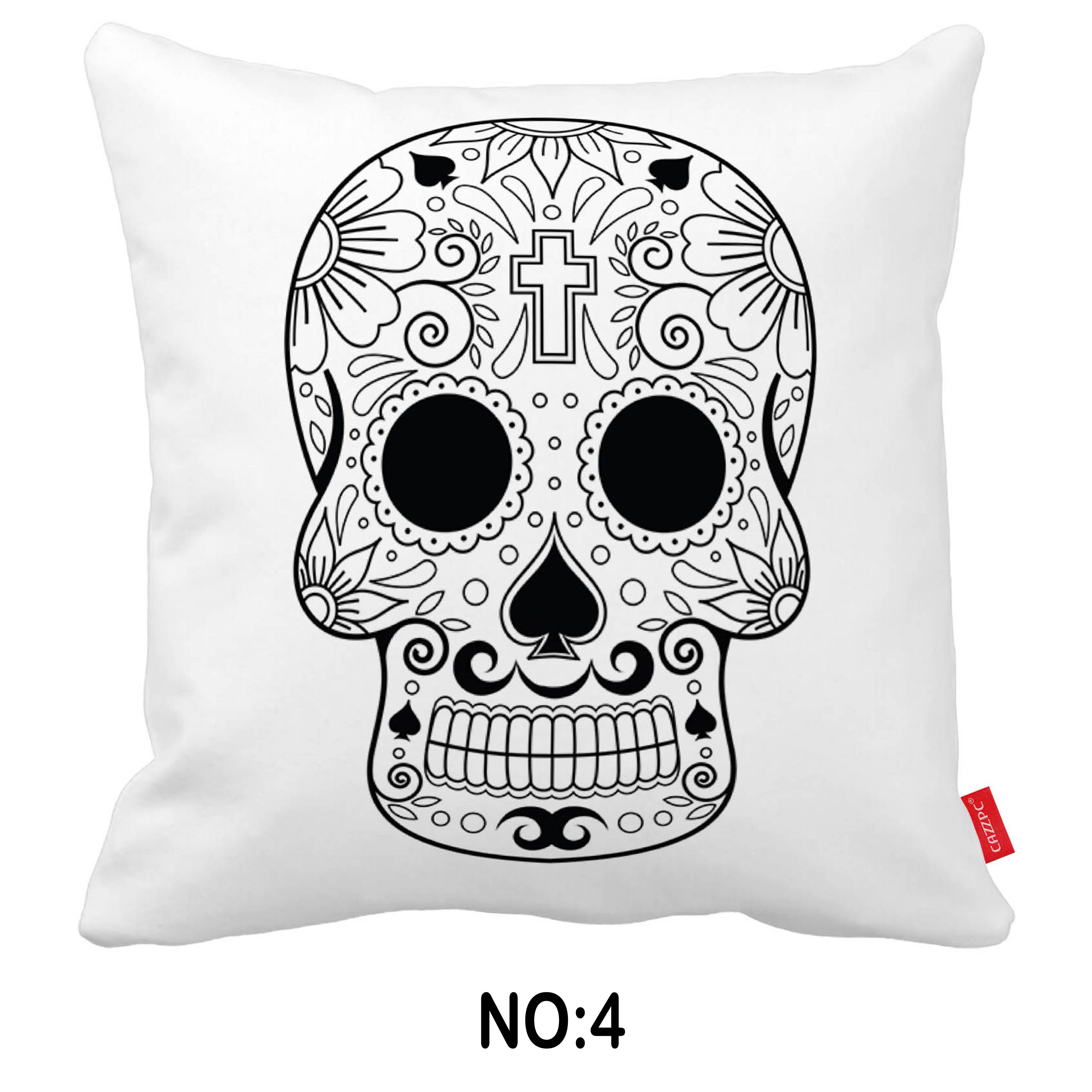 Mexican sugar skull day of death print canvas car decorative throw
