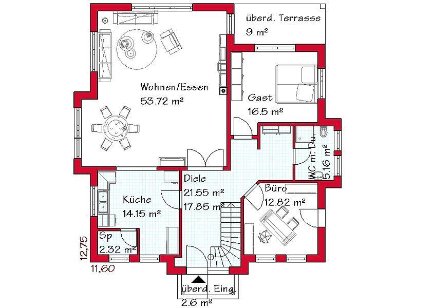 KernHaus Familienhaus Vero Grundriss Erdgeschoss Haus