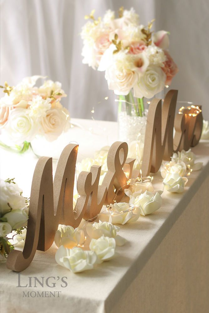 Large Mr and Mrs Wooden Letters Rustic Wedding Sign Sweetheart Table Top Decor #Lingsmoment