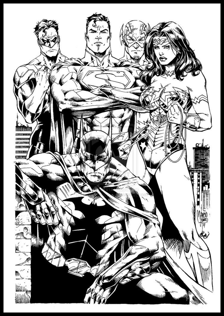 Justice League America Inks by LahmiaRaven on deviantART
