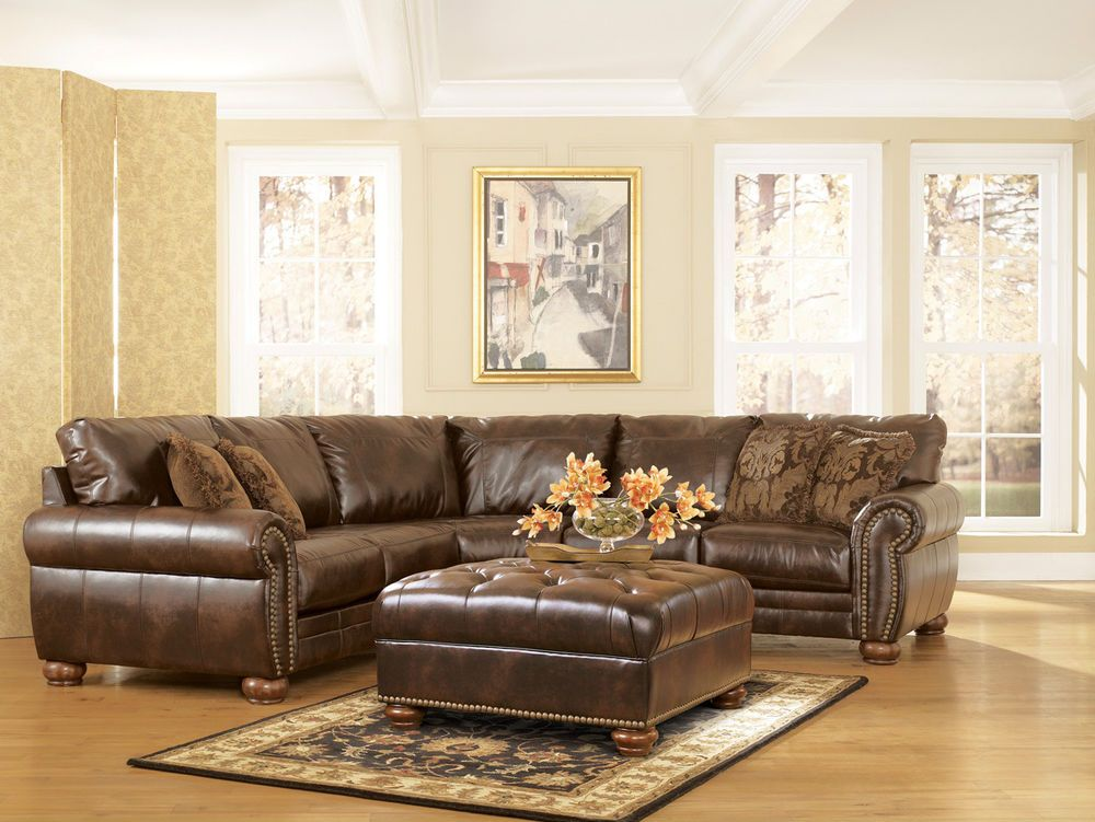 Traditional Antique Brown Bonded Leather Sectional Sofa Rolled