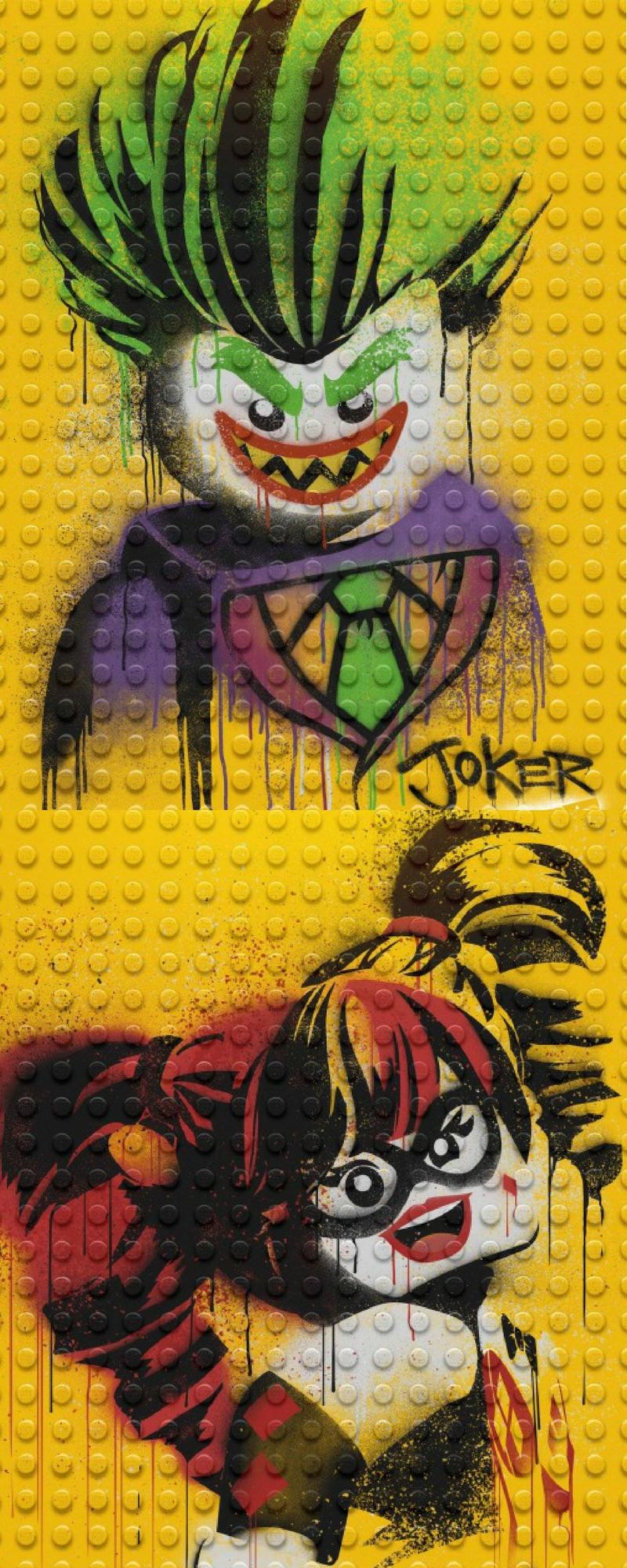 Lego Batman artwork of the Gothan super villain couple... The joker and Harley Quinn .