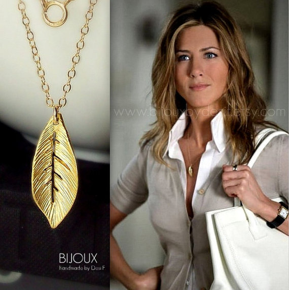 Leaf Necklace Jennifer Aniston 14K Goldfilled Celebrity Style