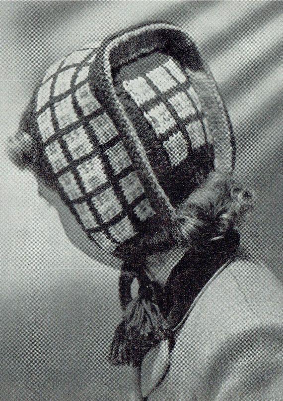PDF Vintage 1950s Girl Hat Knitting Pattern Bonnet Dutch Cap Winter ...