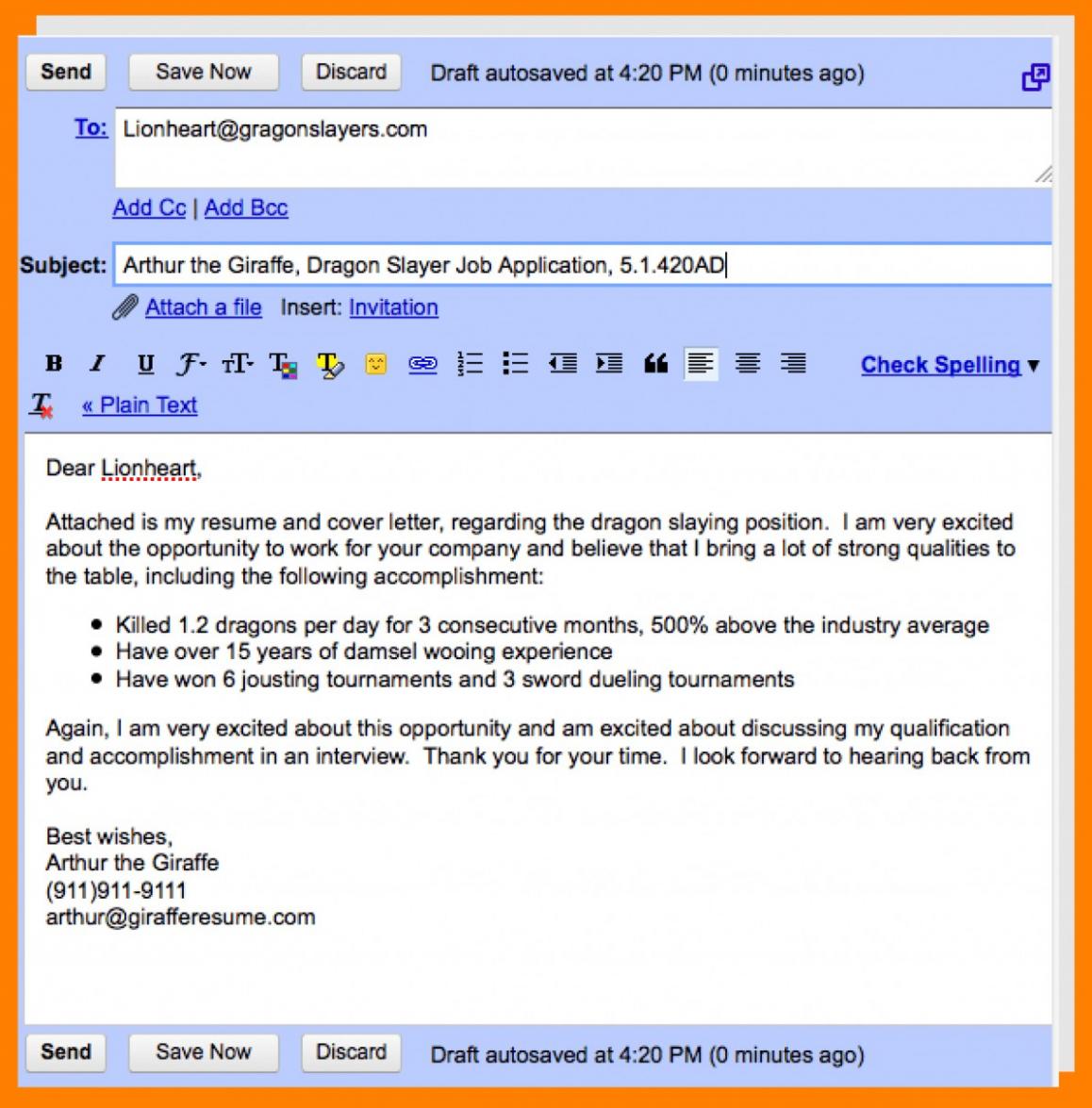 12 Mail Format For Sending Resume For Job