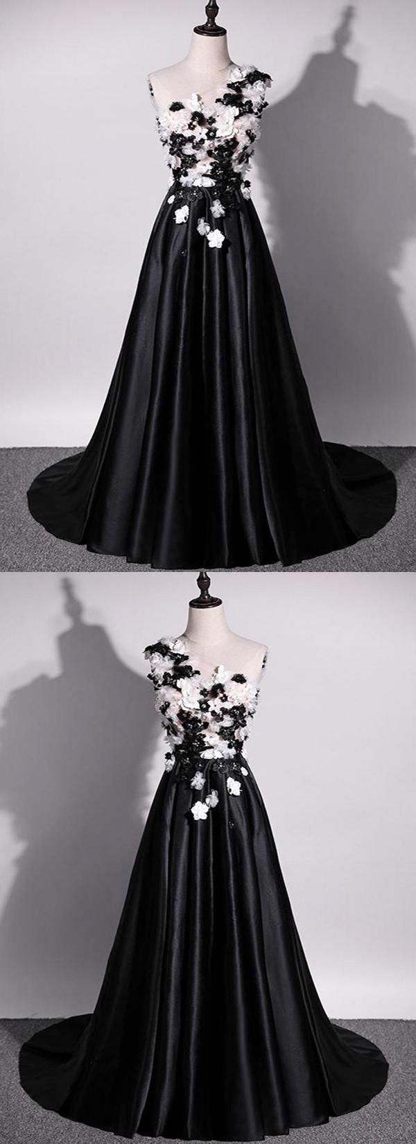 Black black and white lace sleeveless qprom prom dresses