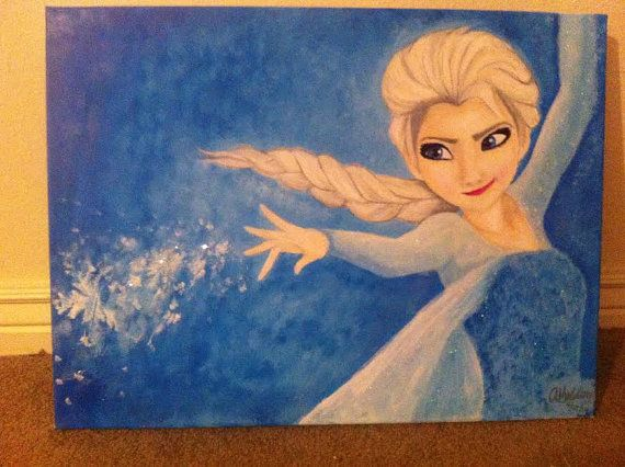 Disney Frozen Queen Elsa Acrylic Painting Let It Go By Artbyashleeg Disney Paintings Painting Disney Canvas