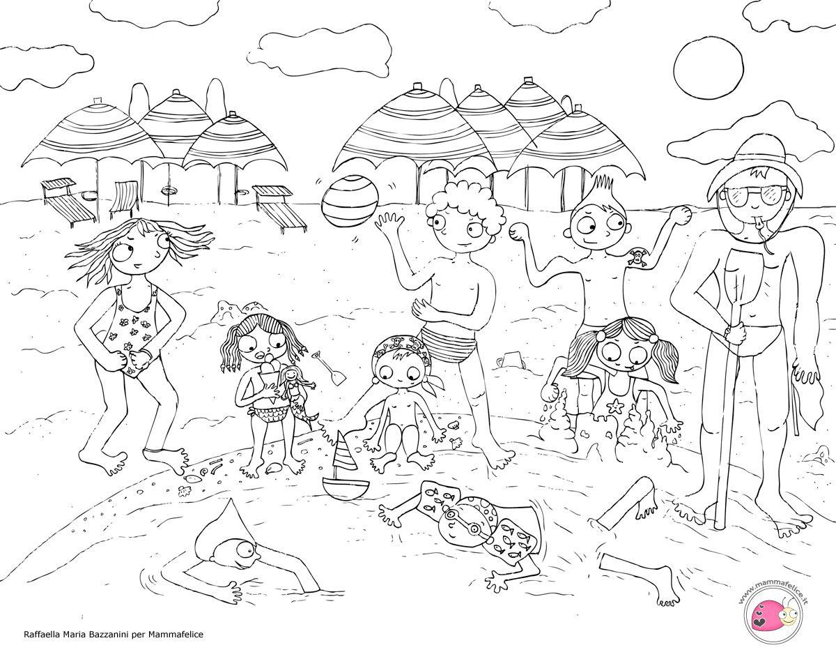 Foto Divertenti Bambini Al Mare disegno da colorare: bambini al mare | disegno per bambini