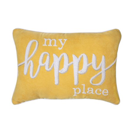 Better Homes & Gardens My Happy Place Decorative Pillow, 14 x 20, Yellow - Walmart.com