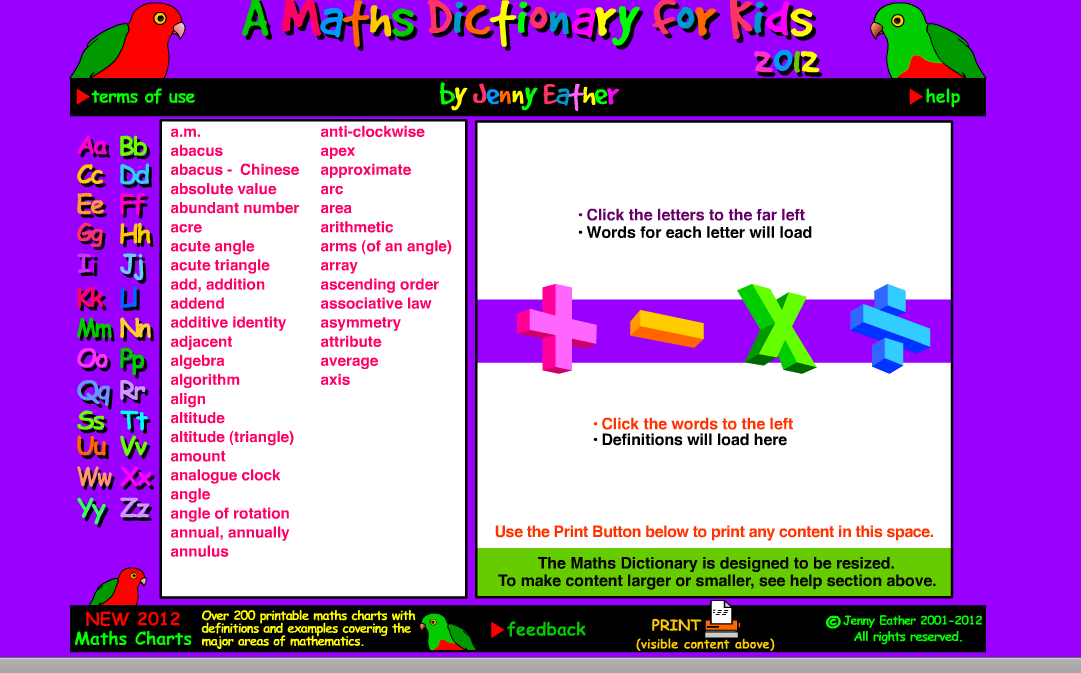 A Maths Dictionary For Kids Each Word Is Defined With Example For The Student To Do Further Increa Math Vocabulary Words Dictionary For Kids Math Vocabulary