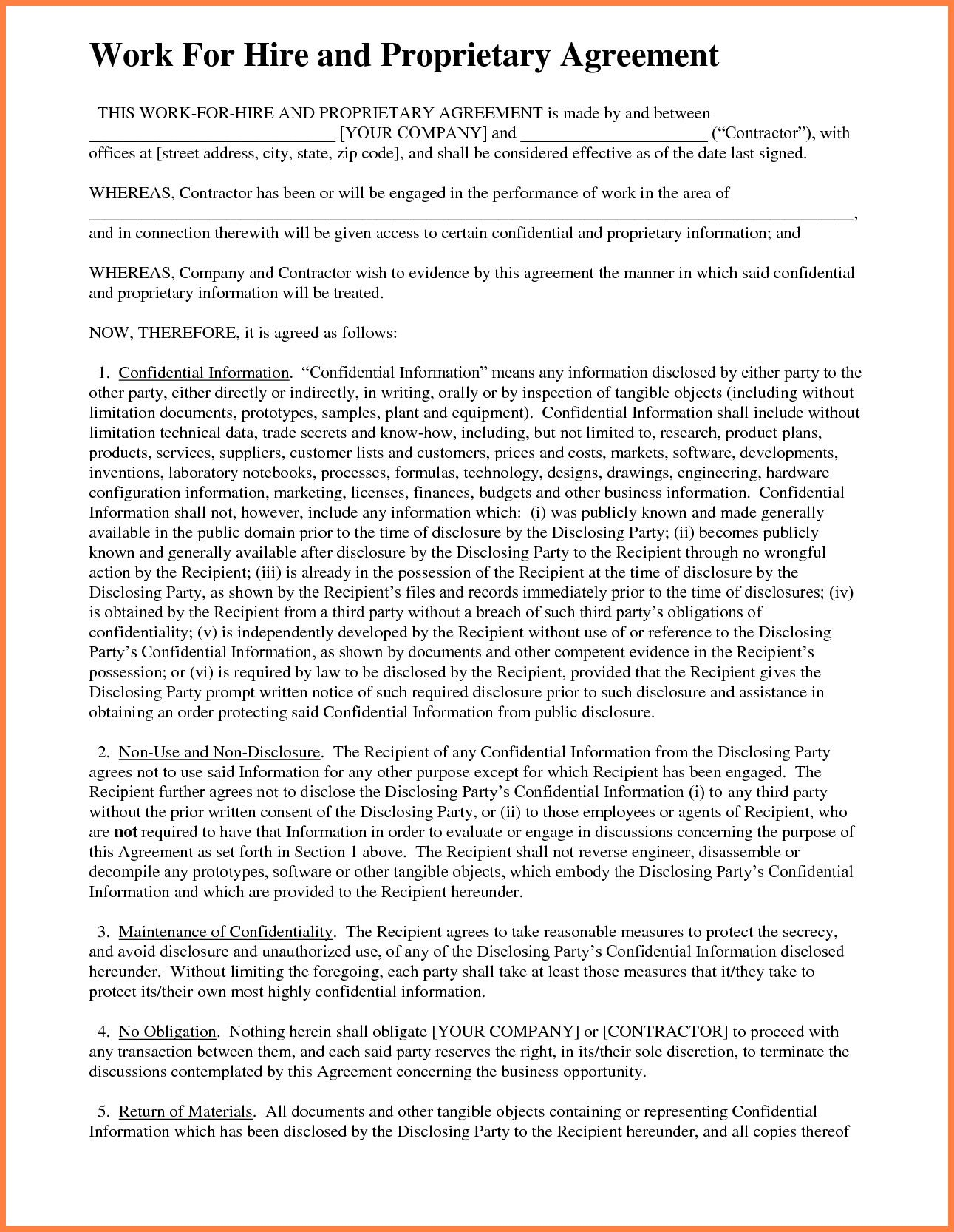 Work For Hire Contract Template Lovely 7 Sample Work For Hire Agreement Template Work For Hire Contract Template Contract Contract to hire agreement template