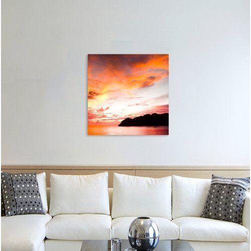 Sunrays over the Sea Framed Photographic Print on Canvas East Urban Home