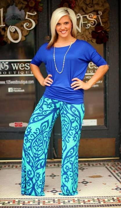 Photo of ← outfit ideas for palazzo pants Cyan printed palazzo pants with cobalt blue b…