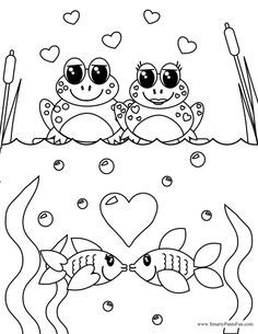 Frog and Fish Couples Valentine Day Coloring Page ...