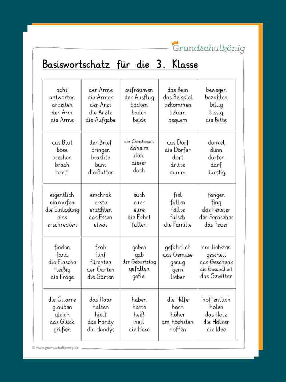 Grundwortschatz Klasse 20 und 20   Rechtschreibung lernen, Lernen ...