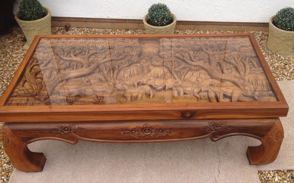 Solid Wood Hand Carved Elephant Scene Coffee Table With Glass Top