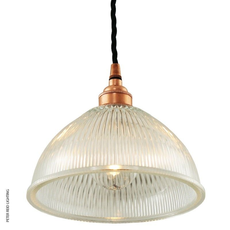 Retro pendant with prismatic holophane glass shade and brass metalwork in five finishes by irelands mullan lighting free delivery from peter reid