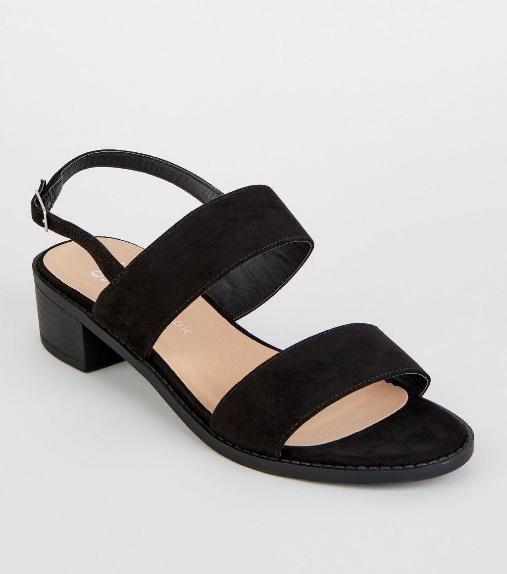 Suedette Low Block Heel Sandals