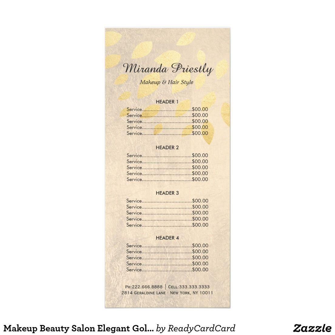 Makeup Beauty Salon Elegant Gold Leaves Price List Rack Card ...
