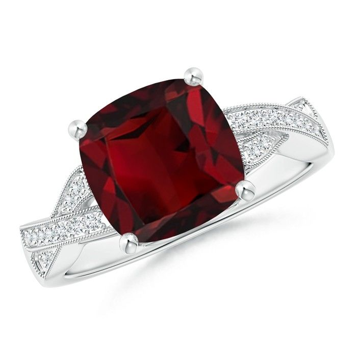 Angara Emerald-Cut Garnet and Trapezoid Diamond Three Stone Ring 7lyuOK