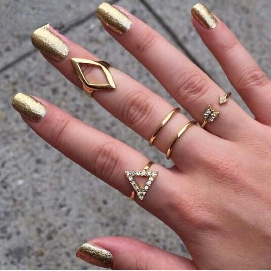 5 Pcs Rhinestone Triangle Rhombus Arrow Finger Ring Set