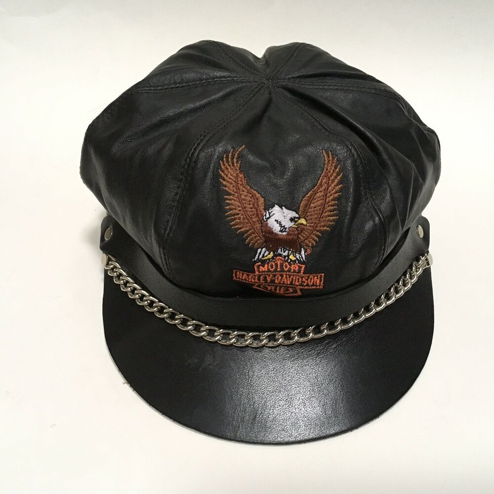 Embroidered Harley eagle logo. Adjustable fit with buckle
