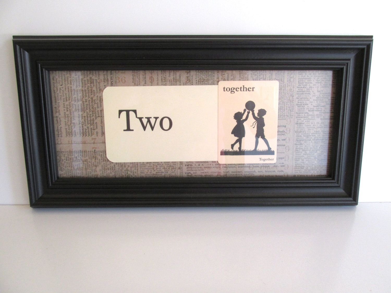 Vintage Framed Flash Cards Two Together Black Frame Home Decor Wedding Love by…