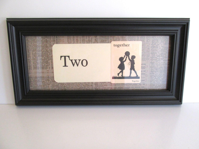 Vintage Framed Flash Cards Two Together Black Frame Home Decor Wedding Love by…