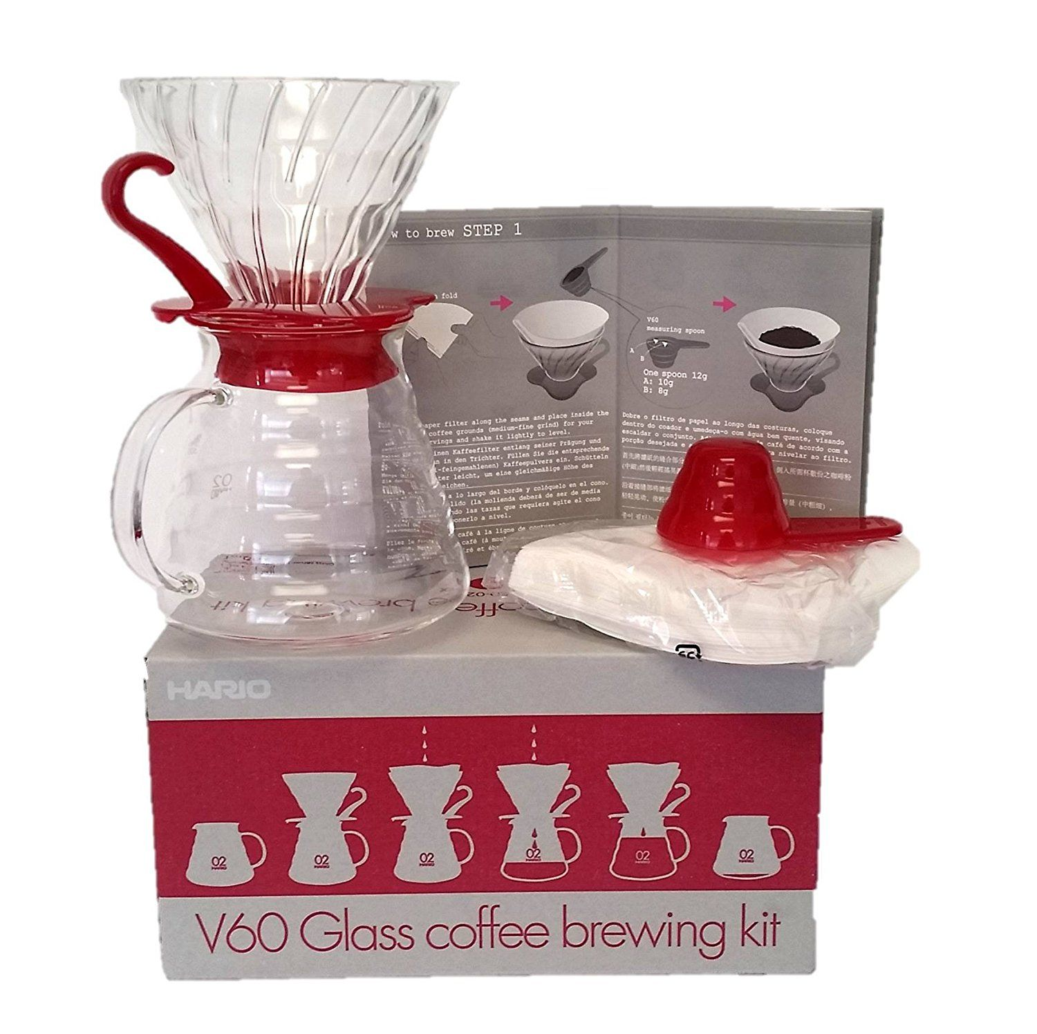 Kaffeefilter Amazon Hario V60 Glass Coffee Brewing Kit V60 Coffee Hand Infusion Set