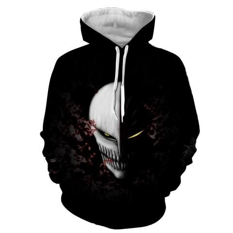 Bleach Scary Ichigo Kurosaki Full Face Hollow Mask Hoodie Basic