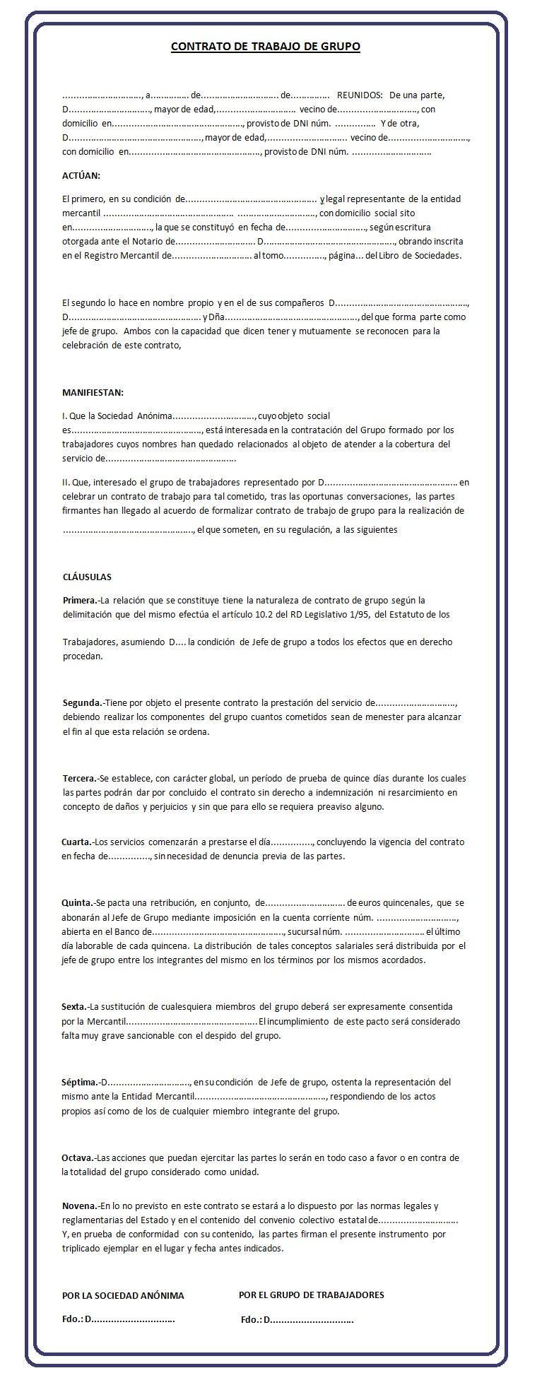 Modelo De Contrato De Trabajo Por Grupo Contrato Modelos Trabajo