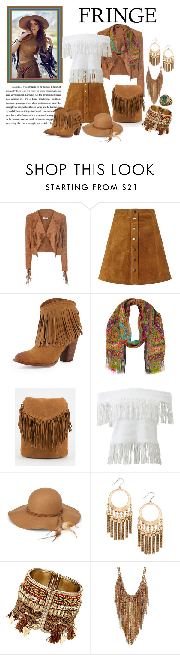"""Festival Trend-Fringe"" by penelopepoppins ❤ liked on Polyvore featuring Nümph, Frye, Etro, Jonathan Simkhai, Steve Madden, Lucky Brand, Kenneth Cole, Roberto Cavalli and fringe"