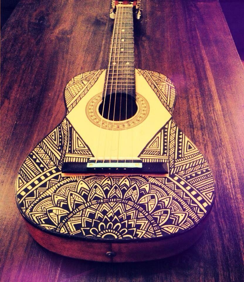 Flor De Pamphilis Aka Pampi Posca Illustration Custom Guitar Customguitars Guitar Art Ukulele Design Guitar Design