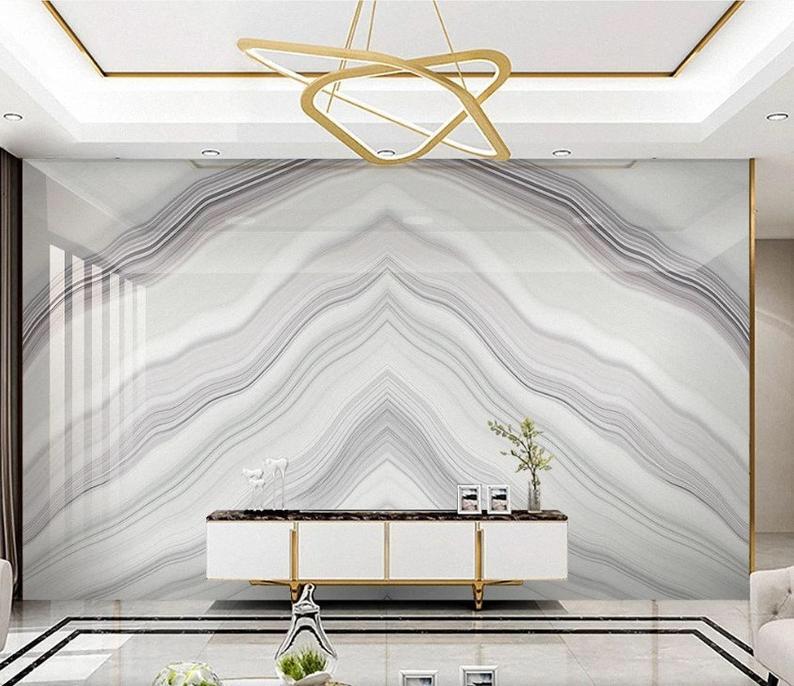 Topography Drawing Abstract Mural Wallpaper Self Adhesive Peel Etsy Wallpaper Living Room Marble Wall Mural Marble Wall