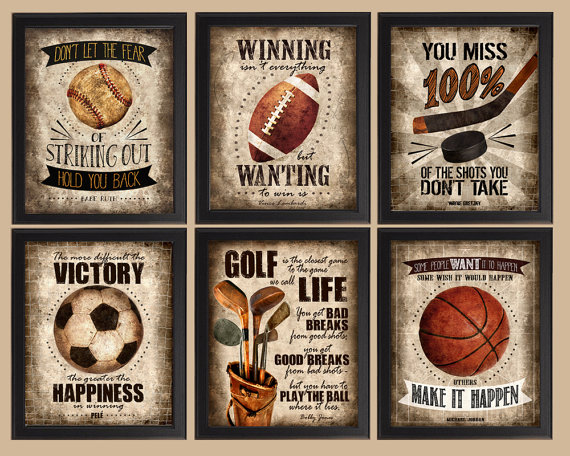 famous sports quotes set of 6 photo prints poster wall art